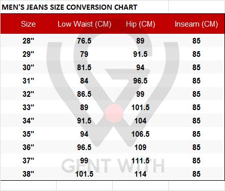 Men Jeans Size Conversion Chart US to EU Size