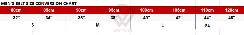 Mens Belt Size Conversion Chart in CM to Inches