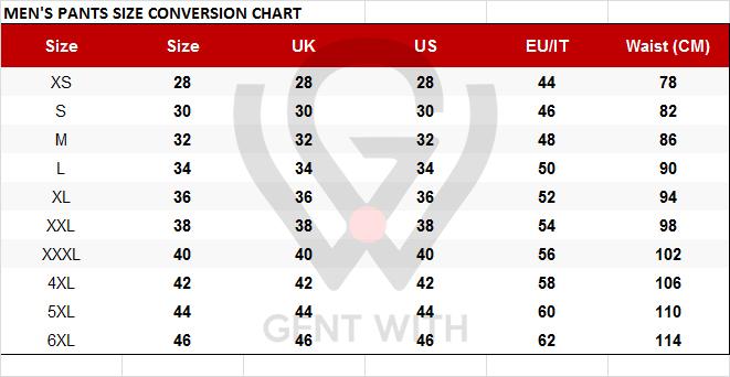 Men's Pants Size Conversion Chart US to EU, EU to UK pants size with Free Worldwide Shipping