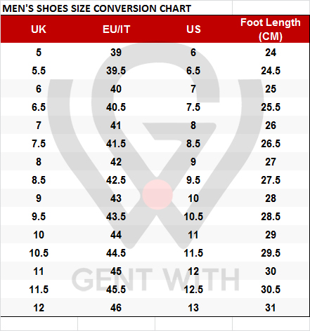 Men's Shoes Size Conversion Chart in US to EU, EU to UK, UK to US Shoes size with Free Worldwide Shipping