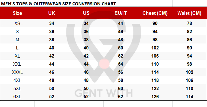 Men's Tops, Suits, Shirts Size Conversion Chart US to EU, EU to UK pants size with Free Worldwide Shipping
