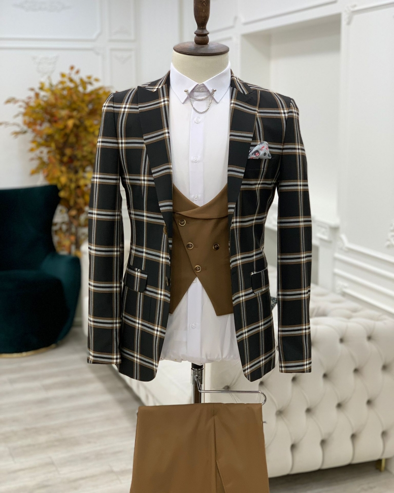 Black Slim Fit Peak Lapel Plaid Suit for Men by GentWith.com with Free Worldwide Shipping