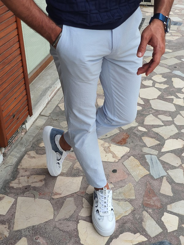 Blue Slim Fit Cotton Pants for Men by GentWith.com with Free Worldwide Shipping
