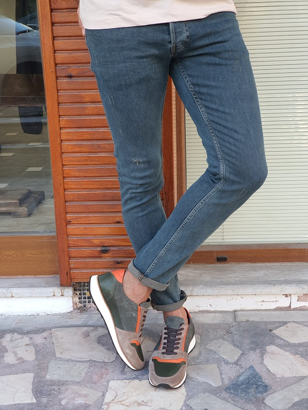 Khaki Slim Fit Ripped Lycra Jeans for Men by GentWith.com with Free Worldwide Shipping