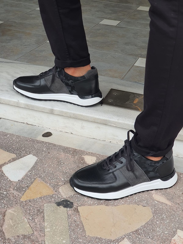 Black Low-Top Sneakers for Men by GentWith.com with Free Worldwide Shipping