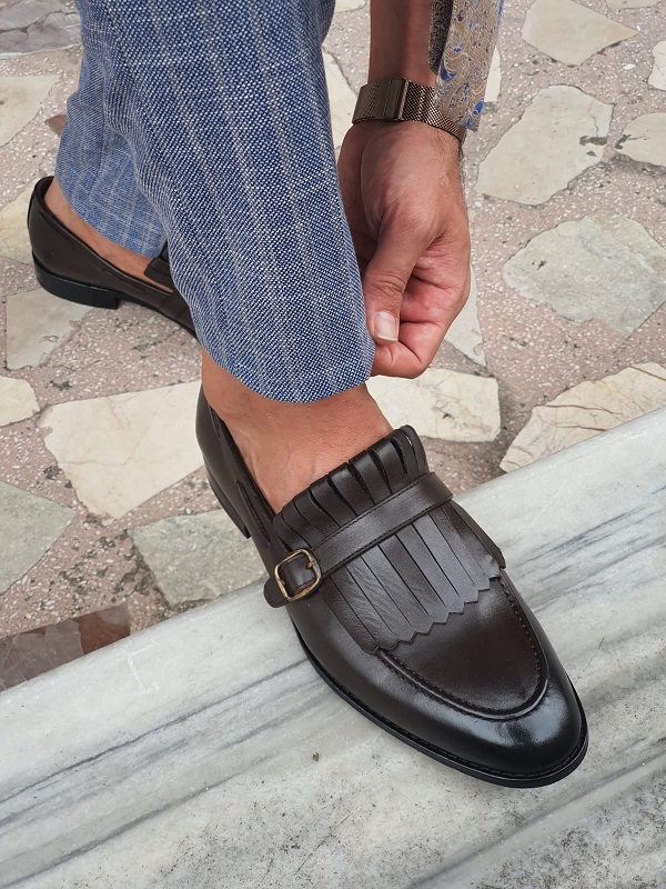 Brown Kilt Loafers for Men by GentWith.com with Free Worldwide Shipping