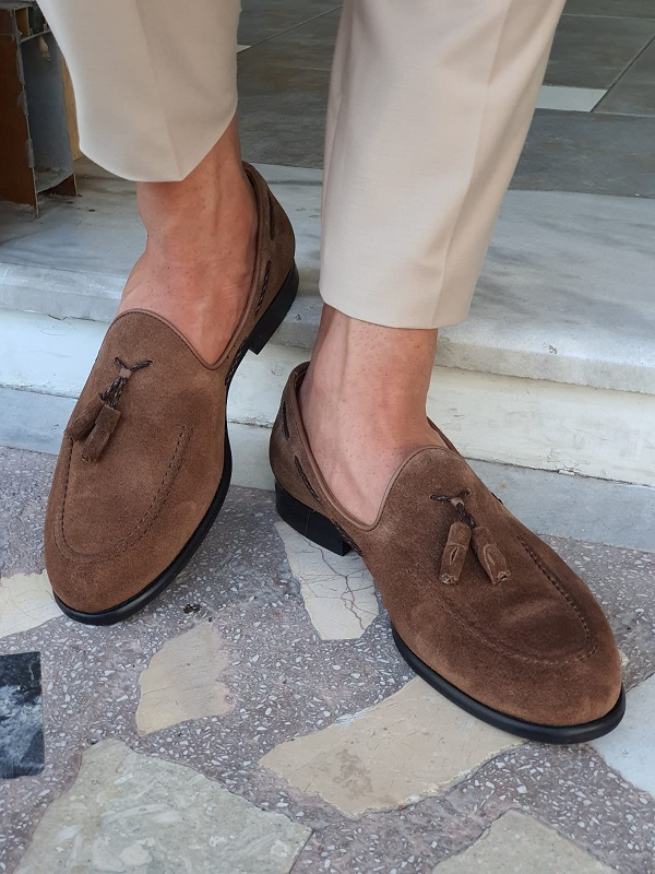 Brown Suede Tassel Loafers for Men by GentWith.com with Free Worldwide Shipping
