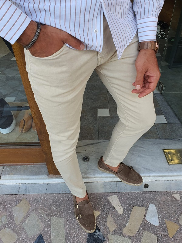 Beige Slim Fit Jeans for Men by GentWith.com with Free Worldwide Shipping