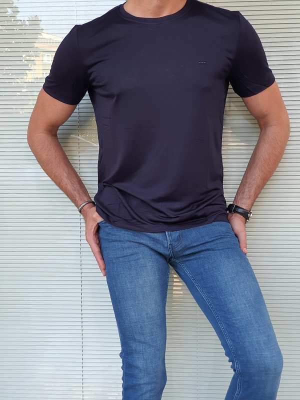 Navy Blue Slim Fit Crew Neck T-Shirt for Men by GentWith.com with Free Worldwide Shipping