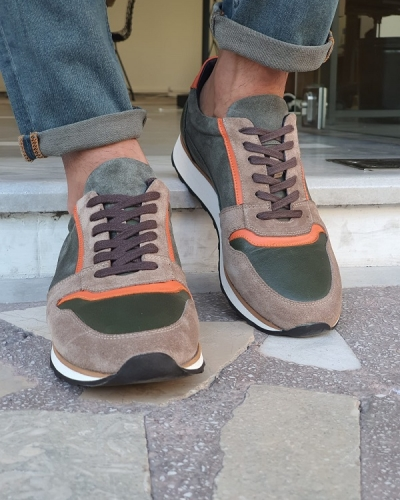 Beige Orange Suede Mid-Top Sneakers for Men by GentWith.com with Free Worldwide Shipping