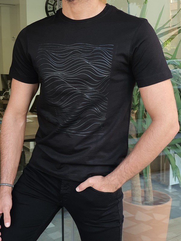 Black Slim Fit Crew Neck T-Shirt for Men by GentWith.com with Free Worldwide Shipping