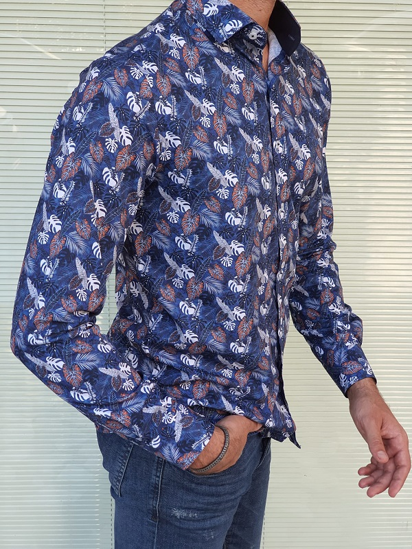 Blue Slim Fit Long Sleeve Cotton Shirt for Men by GentWith.com with Free Worldwide Shipping