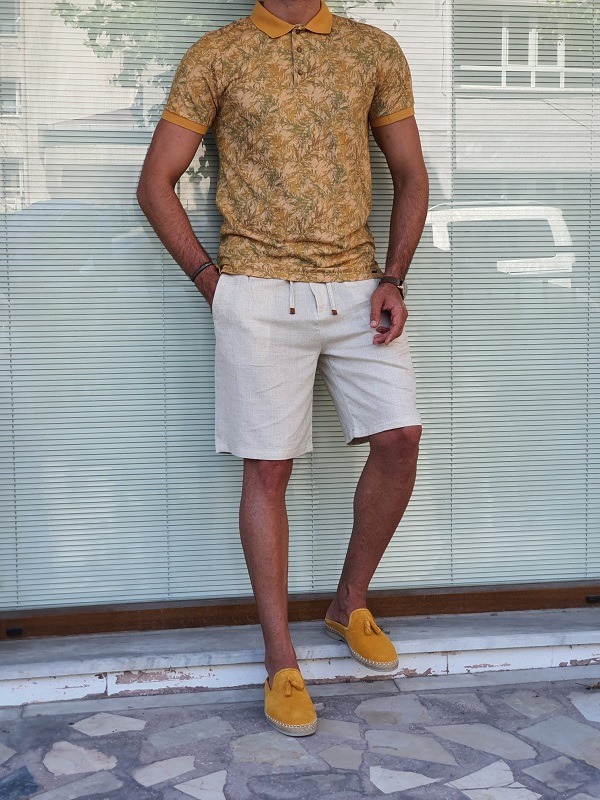 Mustard Slim Fit Polo T-Shirt for Men by GentWith.com with Free Worldwide Shipping