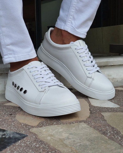 White Low-Top Sneakers for Men by GentWith.com with Free Worldwide Shipping