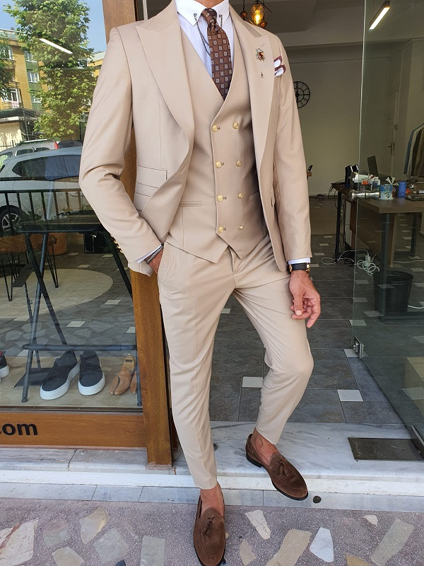 Beige Slim Fit Peak Lapel Wool Suit for Men by GentWith.com with Free Worldwide Shipping