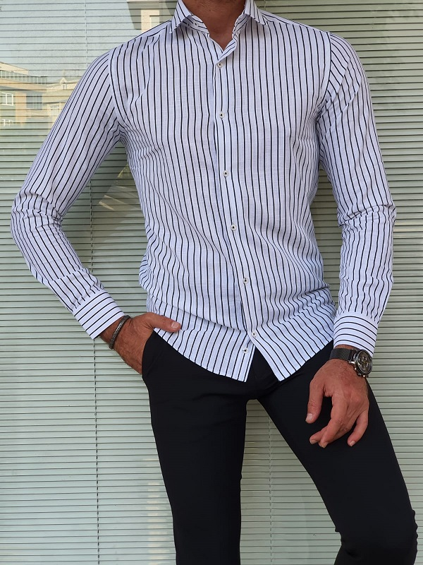 Black Slim Fit Long Sleeve Striped Cotton Shirt for Men by GentWith.com with Free Worldwide Shipping