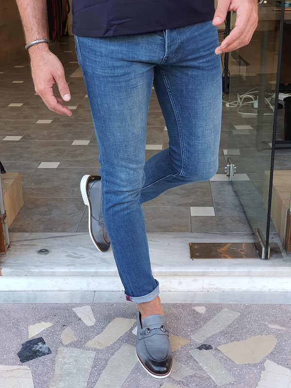 Blue Slim Fit Lycra Jeans for Men by GentWith.com with Free Worldwide Shipping