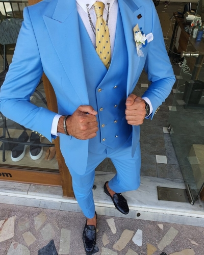 Blue Slim Fit Peak Lapel Wool Suit for Men by GentWith.com with Free Worldwide Shipping