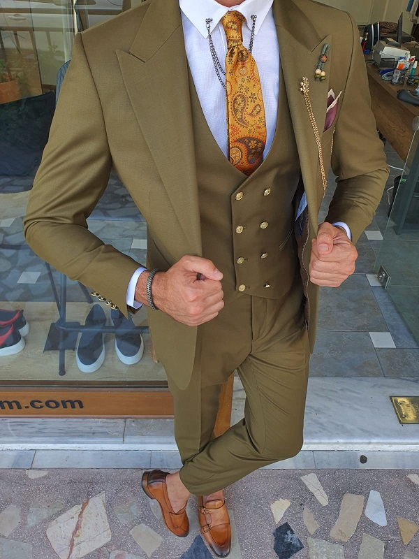 Khaki Slim Fit Peak Lapel Wool Suit for Men by GentWith.com with Free Worldwide Shipping