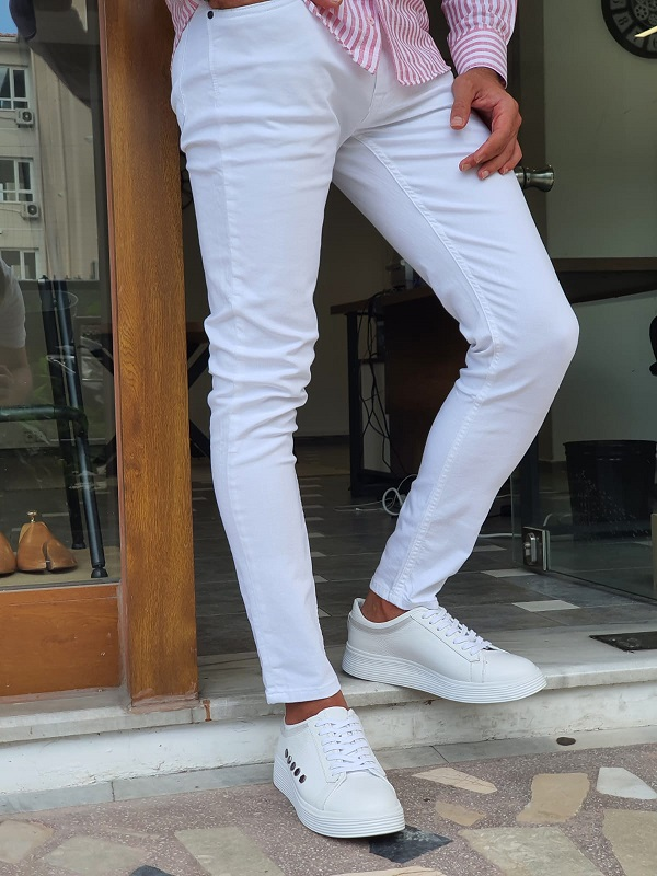 White Slim Fit Lycra Jeans for Men by GentWith.com with Free Worldwide Shipping