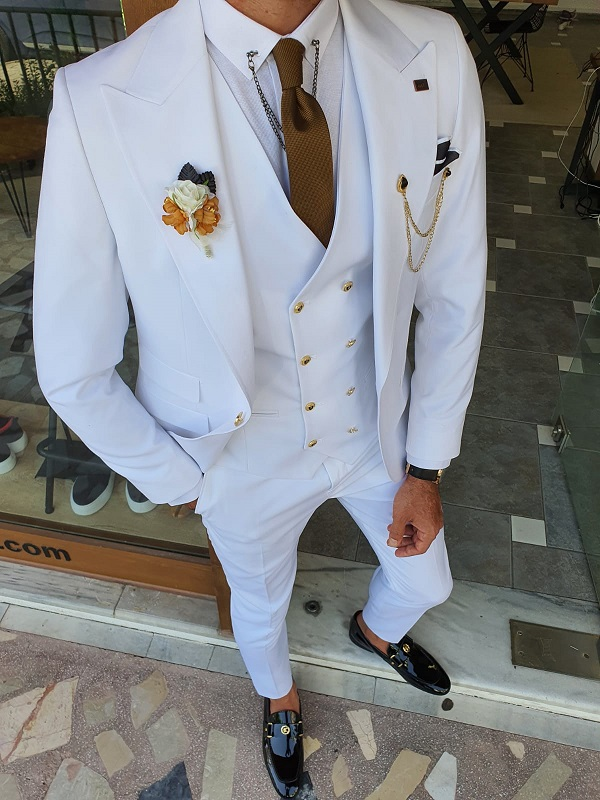 White Slim Fit Peak Lapel Wool Suit for Men by GentWith.com with Free Worldwide Shipping