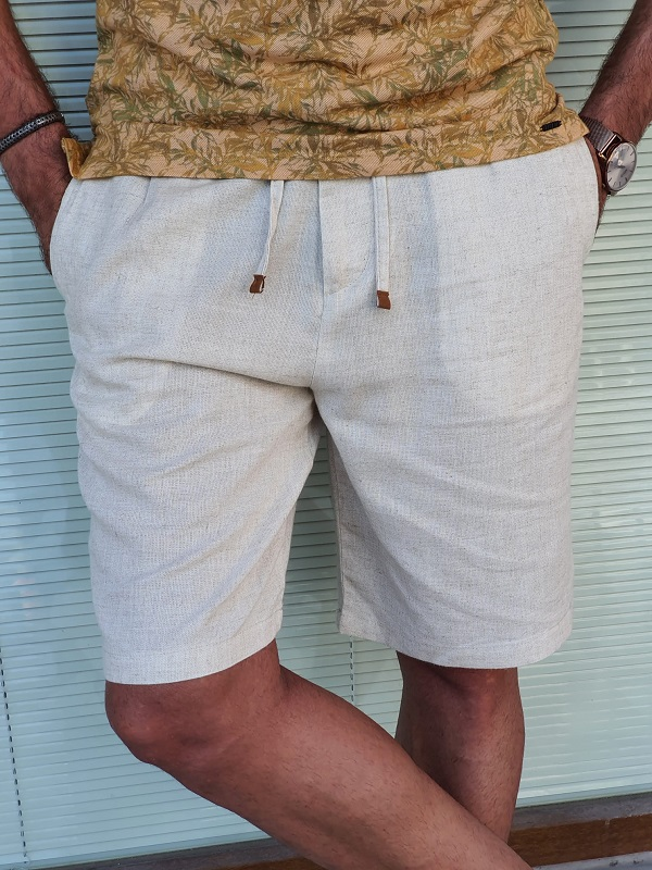 Beige Slim Fit Linen Shorts for Men by GentWith.com with Free Worldwide Shipping