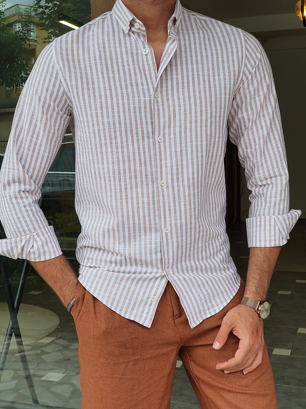 Beige Slim Fit Long Sleeve Striped Cotton Shirt for Men by GentWith.com with Free Worldwide Shipping