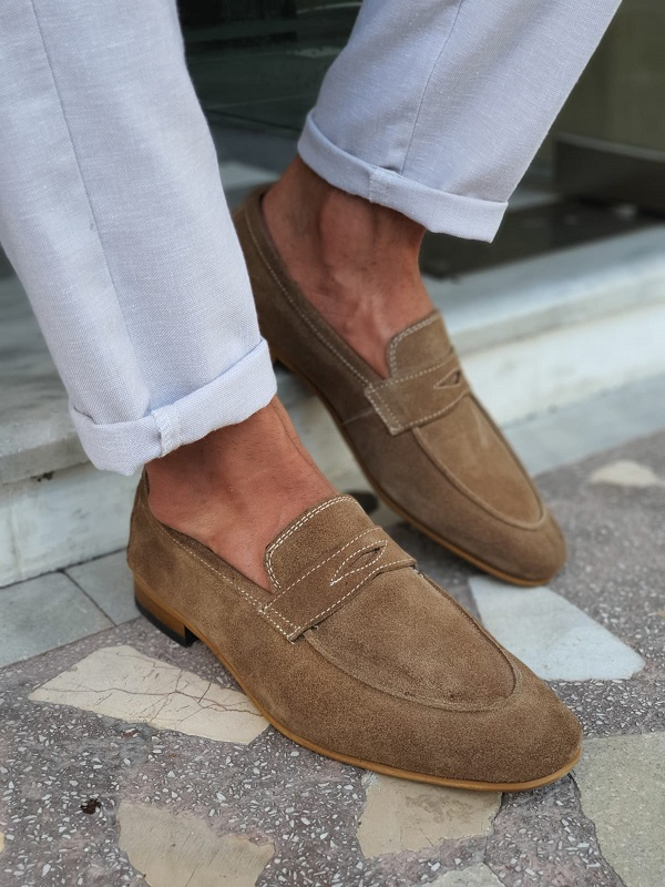 Beige Suede Penny Loafers for Men by GentWith.com with Free Worldwide Shipping