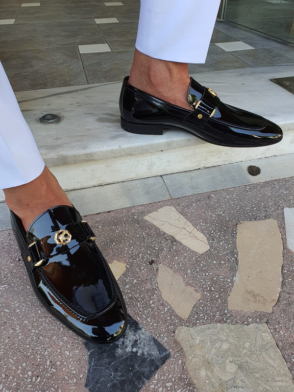 Black Patent Leather Penny Loafers for Men by GentWith.com with Free Worldwide Shipping