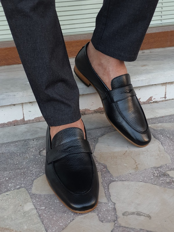 Black Penny Loafers for Men by GentWith.com with Free Worldwide Shipping