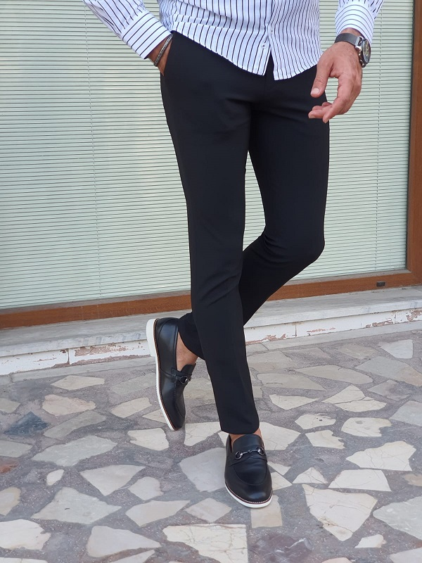 Black Slim Fit Jeans for Men by GentWith.com with Free Worldwide Shipping