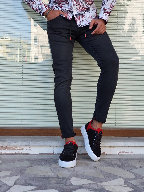 Black Slim Fit Special Lycra Jeans for Men by GentWith.com with Free Worldwide Shipping