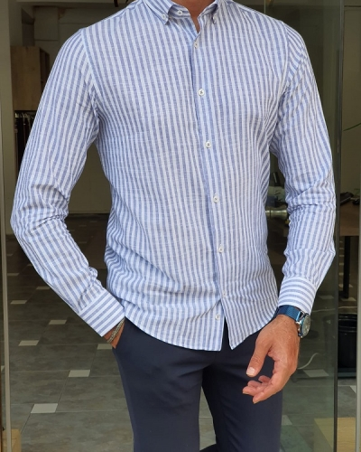 Blue Slim Fit Long Sleeve Striped Cotton Shirt for Men by GentWith.com with Free Worldwide Shipping