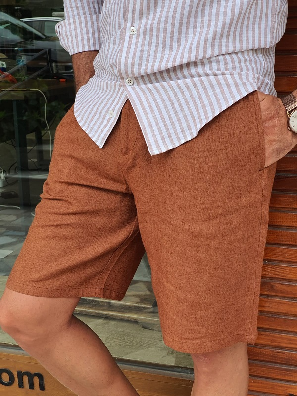 Brown Slim Fit Linen Shorts for Men by GentWith.com with Free Worldwide Shipping