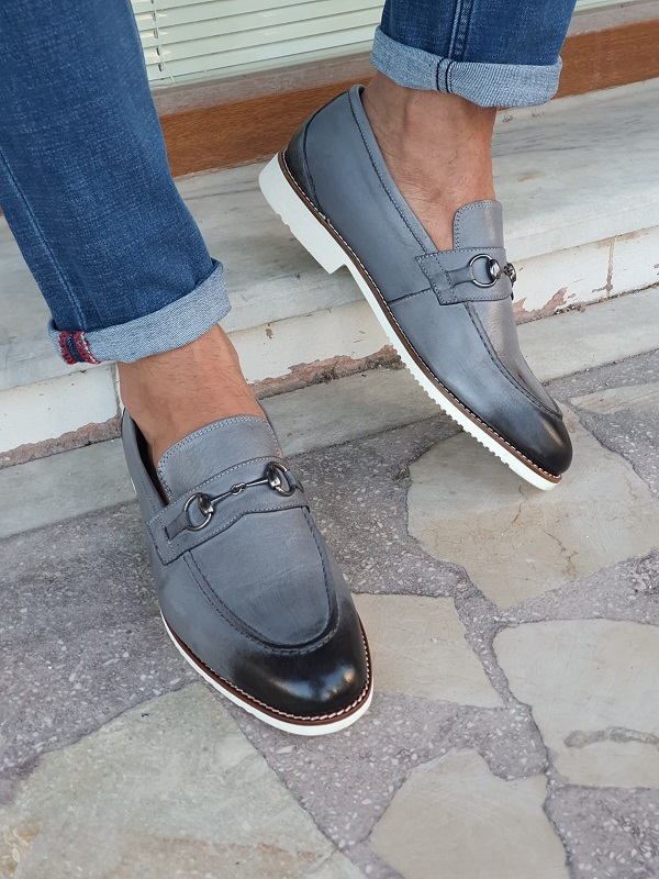 Gray Bit Loafers for Men by GentWith.com with Free Worldwide Shipping