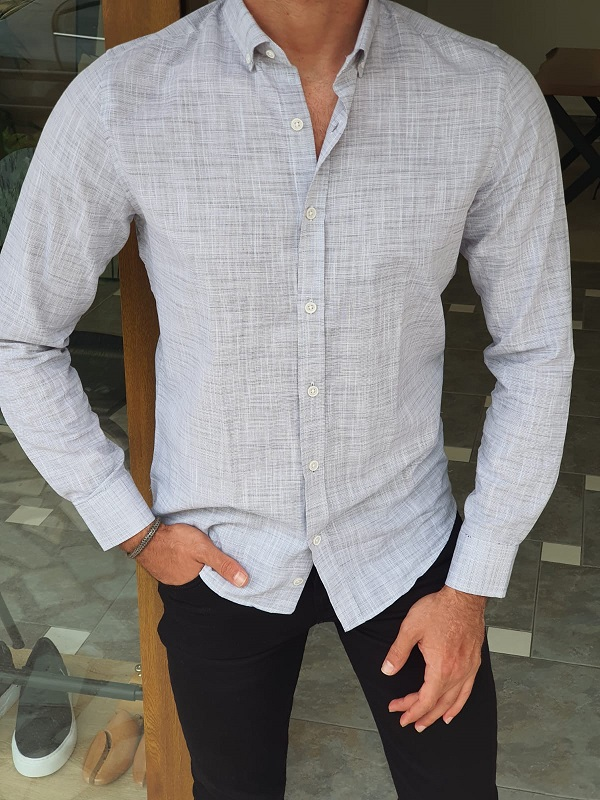Gray Slim Fit Long Sleeve Crosshatch Cotton Shirt for Men by GentWith.com with Free Worldwide Shipping