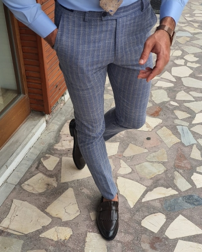Navy Blue Beige Slim Fit Striped Pants for Men by GentWith.com with Free Worldwide Shipping