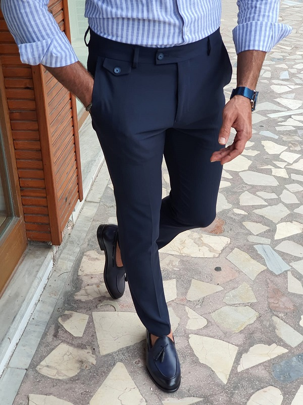 Blue Slim Fit Pants for Men by GentWith.com with Free Worldwide Shipping