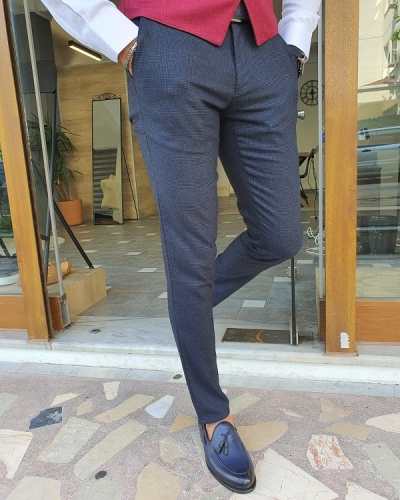 Navy Blue Slim Fit Plaid Cotton Pants for Men by GentWith.com with Free Worldwide Shipping
