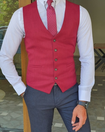 Red Slim Fit Linen Vest for Men by GentWith.com with Free Worldwide Shipping