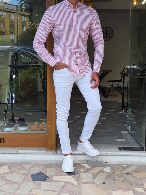 Red Slim Fit Long Sleeve Striped Cotton Shirt for Men by GentWith.com with Free Worldwide Shipping