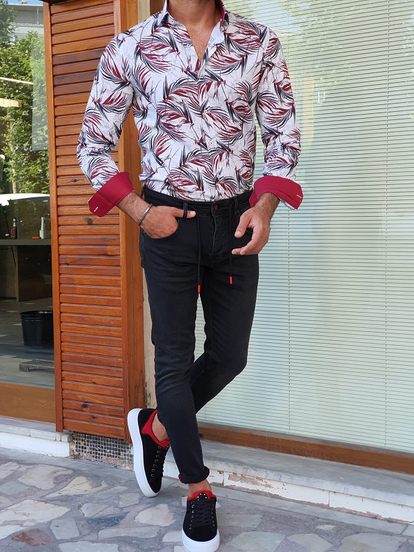 Red Slim Fit Long Sleeve Tropical Cotton Shirt for Men by GentWith.com with Free Worldwide Shipping