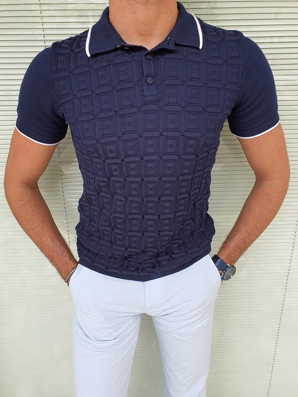 Navy Blue Slim Fit Polo T-Shirt for Men by GentWith.com with Free Worldwide Shipping