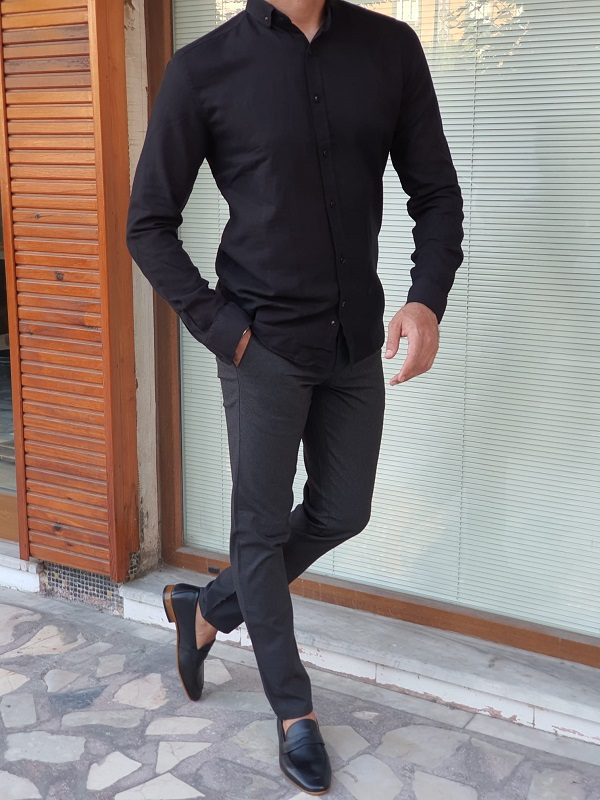 Black Slim Fit Long Sleeve Cotton Shirt for Men by GentWith.com with Free Worldwide Shipping