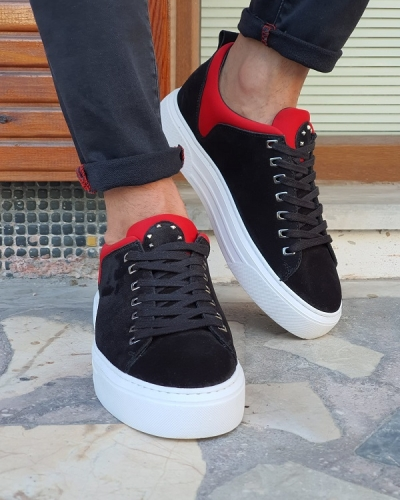 Black Suede High-Top Sneakers for Men by GentWith.com with Free Worldwide Shipping