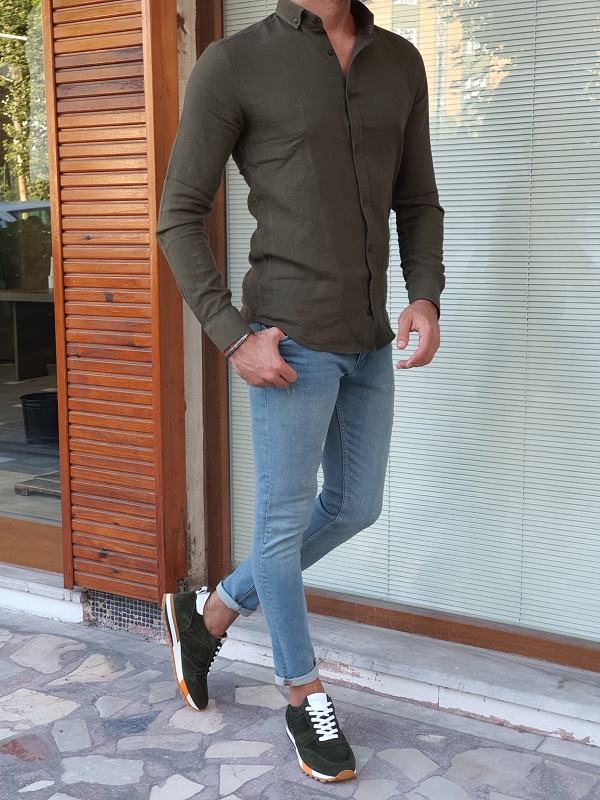 Khaki Slim Fit Long Sleeve Cotton Shirt for Men by GentWith.com with Free Worldwide Shipping