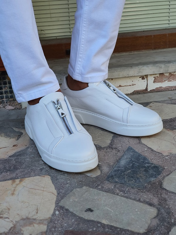 White Mid-Top Zipper Sneakers for Men by GentWith.com with Free Worldwide Shipping