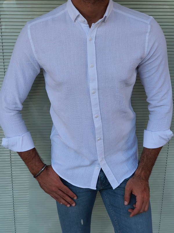 White Slim Fit Long Sleeve Cotton Shirt for Men by GentWith.com with Free Worldwide Shipping