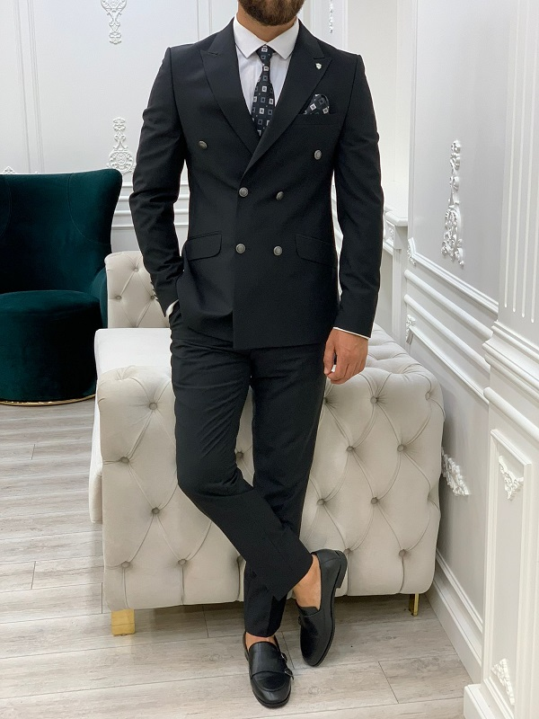 Black Slim Fit Peak Lapel Double Breasted Suit for Men by GentWith.com with Free Worldwide Shipping