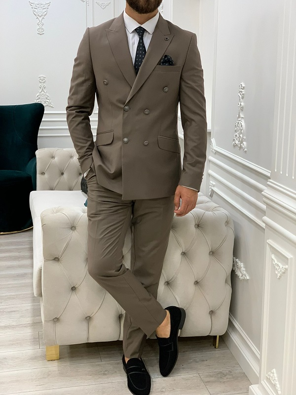 Brown Slim Fit Peak Lapel Double Breasted Suit for Men by GentWith.com with Free Worldwide Shipping